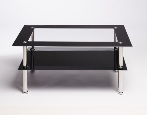 Black And Clear Rectangle Glass Stainless Steel Coffee Table Search Furniture