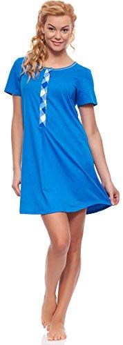 Italian Fashion IF Damen Stillnachthemd M002 Saphir/Weiß