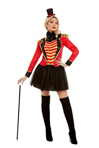Deluxe Kostüm Womens - Smiffys 51049M Deluxe Ringmaster Lady Kostüm, Damen, rot, M - Größe 38-42
