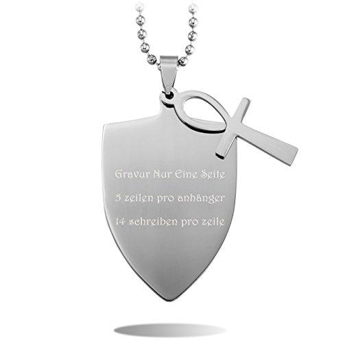 MeMeDIY Silber Ton Edelstahl Kruzifix Kreuz Schild Anhänger Halskette,mit 58cm Kette - Kundenspezifische Gravur