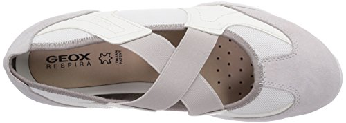 Geox D Arrow A, Baskets Basses femme Blanc - Weiß (WHITE/OFF WHITEC1352)