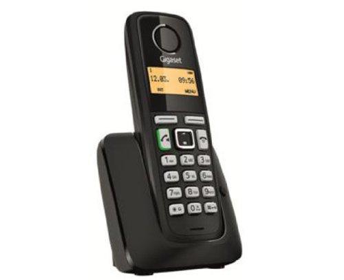 Gigaset A220 - Teléfono inalámbrico (Gap, DECT, Clip, 80 contactos) Color Negro