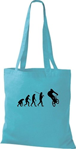 ShirtInStyle Stoffbeutel Jute Evolution Motorrad Fahrrad Biken Stunt Freebike Biker diverse Farbe sky blue