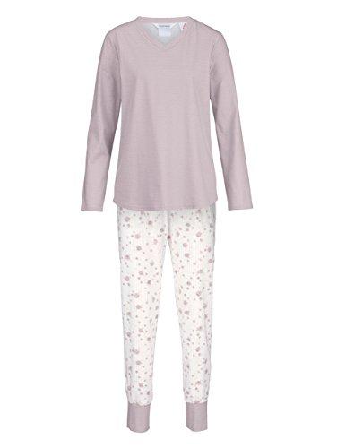 Charmor Damen Schlafanzug Rosenholz/weiß