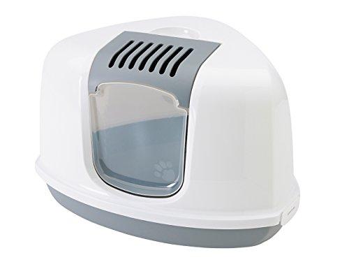 """Bandeja para Gatos """"Nestor Corner"""" Gris / Blanco 58,5 X 45,5 X 40CM - con filtro de carbón activado - Integrado Asa - frontal con bisagras, fácil limpieza"""