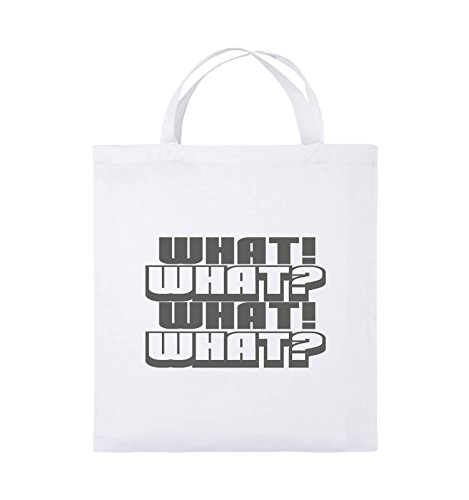 Comedy Bags - WHAT! WHAT! WHAT! WHAT! - Jutebeutel - kurze Henkel - 38x42cm - Farbe: Schwarz / Pink Weiss / Grau