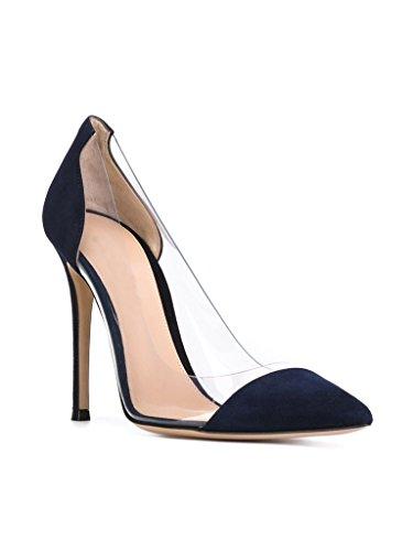 EDEFS -Escarpins Femmes - Aiguille Talon - Transparent Chaussures - A enfiler PVC Bout fermé - Taille Camel
