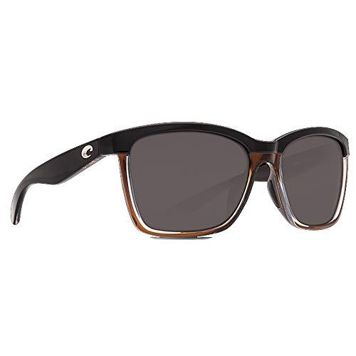 Costa Del Mar Anaa Sonnenbrille, glänzendes Schwarz auf Braun/Grau 580Glass
