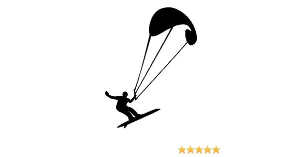 Generic Kite Surfing Kite Surfer Aufkleber Surf Surfen Sport Aufkleber In Den Größen 10cm 15cm 20cm Oder 25cm 144 2 1 25cm Schwarz Glanz Garten