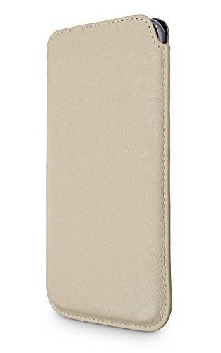 WIIUKA Echt Ledertasche - Pure - für Apple iPhone X und XS Hülle extra Dünn, im Slim Design, Beige Creme, Premium Leder Tasche
