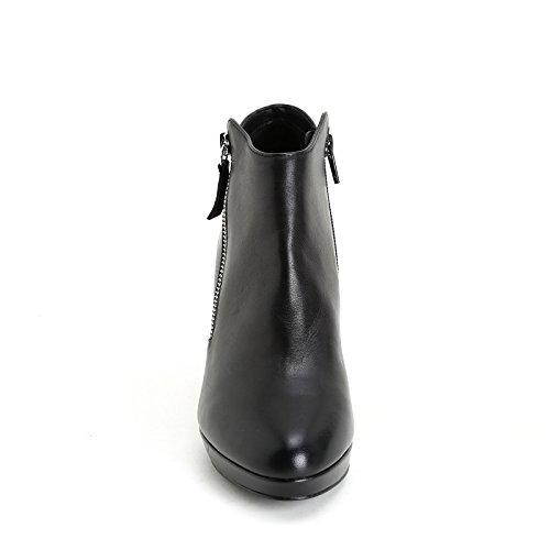 Latérale à Bottines Alesya Noir en Talons Scarpe CM avec Fermeture 7 Cuir Scarpe Hautes Éclair qppSwvx0T