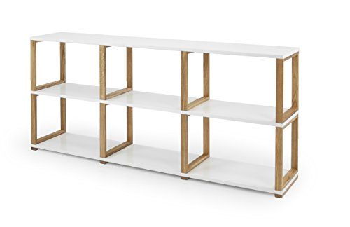 Tenzo 2332-001 ART Designer Etagère/Séparation de pièce Panneaux de particules/Chêne massif Blanc/Chêne 178 x 36 x 80 cm
