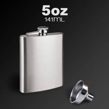 Stainless Steel Pocket Whisky Liquor 5 OZ Hip Flask With Funnel