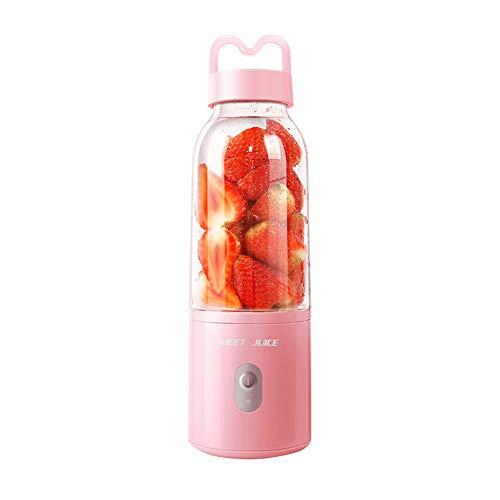 500ml Exprimidor Eléctrico Portátil con USB Recargable, Licuadora para Batido Mini Taza de Jugo Vegetales Botella Pink