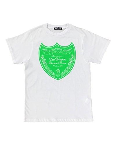 t-shirt-con-stampa-dom-perignon-verde-fluo-fake-lab-m