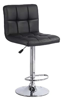 Faux Leather Kitchen Breakfast Bar Stool in Black - SW31