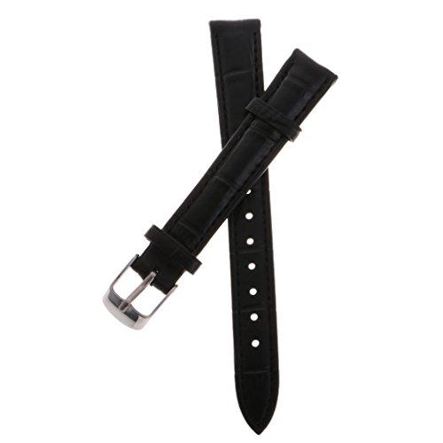 14 Schwarz Leder (MagiDeal Ersatz Leder Uhrenarmband Handgelenk Uhrenarmband, Stilvoll Gurt Sportarmband - schwarz - 14mm)