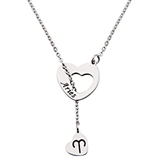 Ensianth Zodiac Signs Heart Necklace Stainless Steel Lariat Y Necklace (Aries)