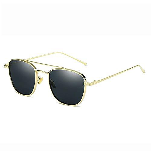Yiph-Sunglass Sonnenbrillen Mode Sonnenbrille Farbe Objektiv Metallrahmen polarisierte Frauen Männer Sonnenbrillen (Farbe : Gold, Größe : Casual Size)