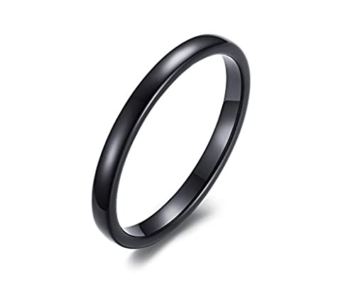 Vnox Women's Men's Thin Simple Tungsten Carbide Plain Band Wedding Engagement Promise Ring 2mm Width