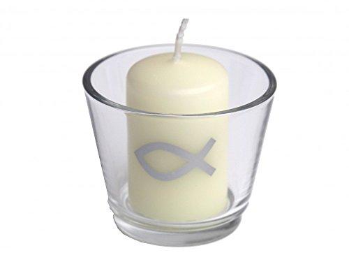 SET: 6x Votivglas 6x Kerzen Fisch Silber Kommunion Taufe Konfirmation Tischdeko Kerzendeko - 3
