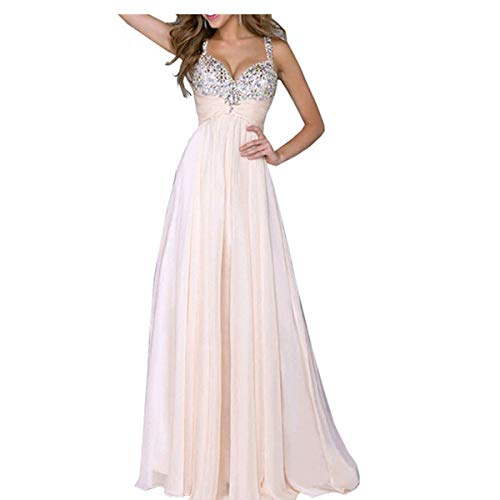 Mode Frauen V Deep Sexy Pailletten Spleißen Chiffon Kleid Casual Rock Kleid Hell-Pink L