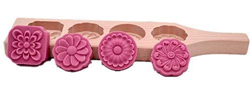 hewnda China Mondkuchen Form-Holz Kuchen Form für Mond Kuchen, Springerle, Cookies, Seife 4 Holes (Drücken Sie Cookie Maker)