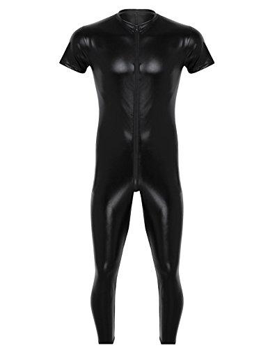 YiZYiF Herren PU & Mesh Halb Transparent Overalls Dessous Unterhemd Fitness Bodysuit Schwarz Sportwear Clubwear Schwarz Jumpsuit XXX-Large