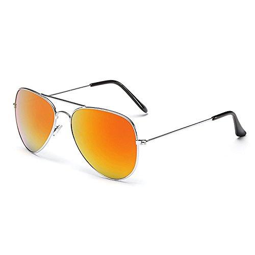 Sonnenbrille Fliegerbrille Brille in vielen Farbkombinationen Klassische Pilotenbrille Verspiegelt Unisex Sonnenbrille Damen Herren Pornobrille Sommer (C8- Rahmen Silber - Glas Orange verspiegelt)