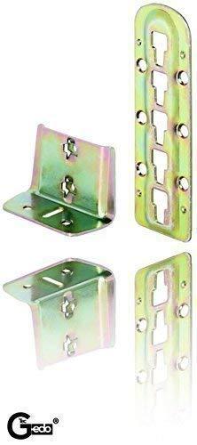 Preisvergleich Produktbild Gedotec Bettverbinder Holz Bettbeschlag Bett-Winkel zum Einhängen - H3580 / Stahl blau verzinkt / Bettsockel-Verbinder höhen-verstellbar / 4 Set - Metall Einhängebeschlag für Lattenrost-Mittelbalken