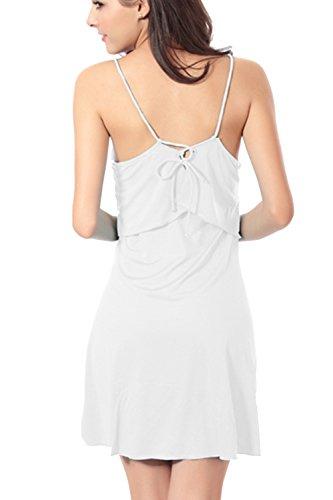 Sexy Halter des femmes Fake 2 morceaux Swing Beach Dress white