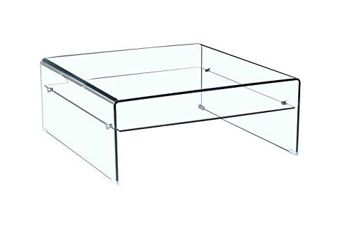 Meubletmoi Ice Mesa baja de cristal templado, diseño cuadrado con ...
