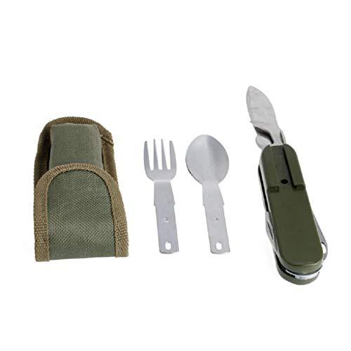 tiyee Camping Randonnée Fourchette Bouteille Ouvre-Couteau Portable Pliante Ensemble d'outils