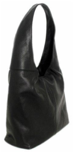 Italy Henkaltasche MARRONE Ledertasche Schultertasche Leder Glattleder 02070 Schwarz