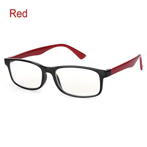 1 STÜCK Blau Licht Gläser Anti Blue Rays Strahlenschutz Gläser Männer Frauen Computer Brille Anti-UV UV400 Flachen Spiegel Brillen (Frame Color : Red)