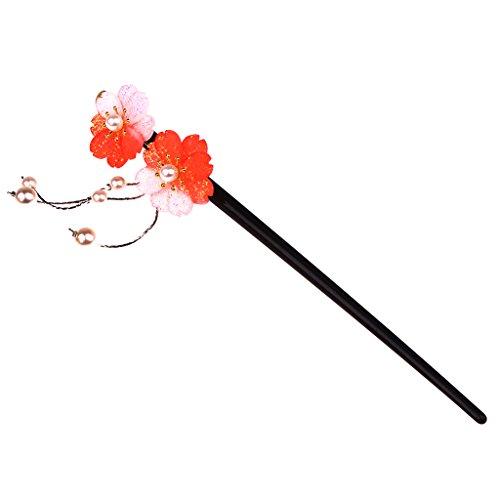 MagiDeal Epingle à Cheveux Pince à Cheveux avec Fleur Vive et Frange de Perle Design Japonais - rouge