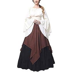 PengGengA Disfraz Traje Medieval para Mujer Traje Princesa Reina Dama Medieval Cosplay Criada Marrón 3XL