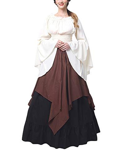 Damen Mittelalter Kleid Halloween Party Kostüm Renaissance Maxi Kleider Braun XL