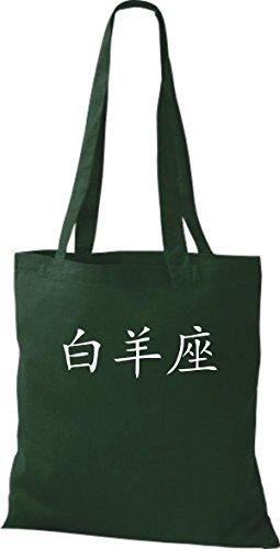 ShirtInStyle Stoffbeutel Chinesische Schriftzeichen Widder Baumwolltasche Beutel, diverse Farbe bottle green