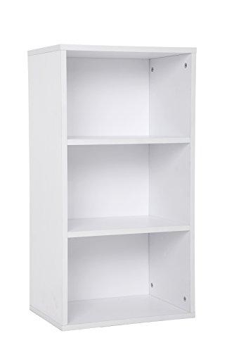 SONGMICS 3 Fächern Bücherregal Standregal Belastung/Regalboden: 30 kg, für Diele, Flur büro oder Loft 42,5 x 80 x 29,5 cm weiß LBC103W