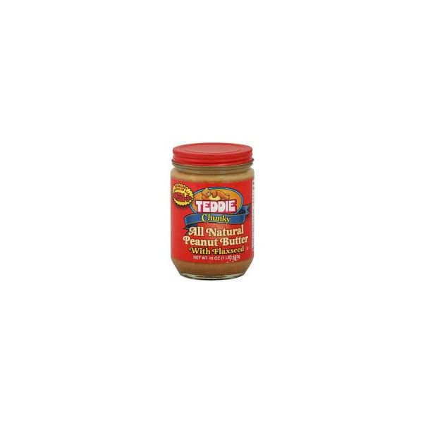 Teddie Natural Peanut Butter with Flaxseed Chunky, 453g