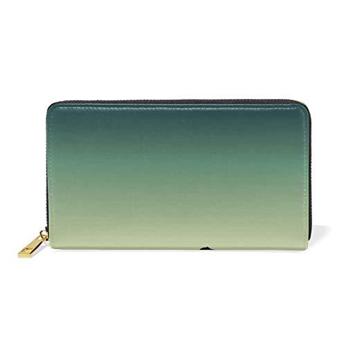 Werert Portafogli Donna,Landscape Watercolour Genuine Leather Bifold Clutch Purse with Card Holder/Zipper Pocket for Coin/Phone Bag for Ladies