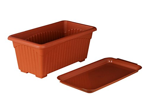 First-Smart-Deal-Plastic-Rectangle-Pot-Set-Brown-Pack-of-3