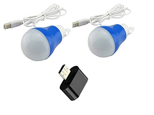 CABLE GALLERY USB Portable Hook LED Bulb Light Reading Lamp, Power Bank with OTG Adapter (3 W, White) -2 Pack