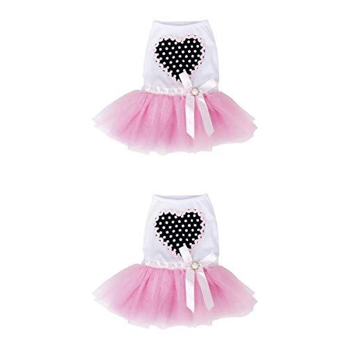 B Blesiya 2X Peach Lace Rock Bubble Kleid Für Teddy Yorkshire Terrier Pudel (Pudel Rock Kostüm Hunde)