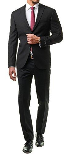 Schwarz Hose Hochzeit (Paco Romano Herren Anzug Jacket Sakko Hose Schwarz 2-Teilig 67713 Slim Fit Premium Cotton 80% Wolle Hochzeit Feier Business Dinner Gentleman, Farbe:Schwarz, Größe:46 / S)
