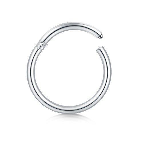 16 calibro anello naso anello in acciaio inox senza ago clicker naso anello trago labbra 8mm 10mm monili del corpo