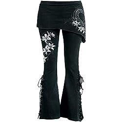 beautyjourney Bordado casual de las mujeres pantalones acampanados Leggings negros con cordones Falda de los pantalones del vendaje flaco Pantalones casuales pantalones de pierna ancha