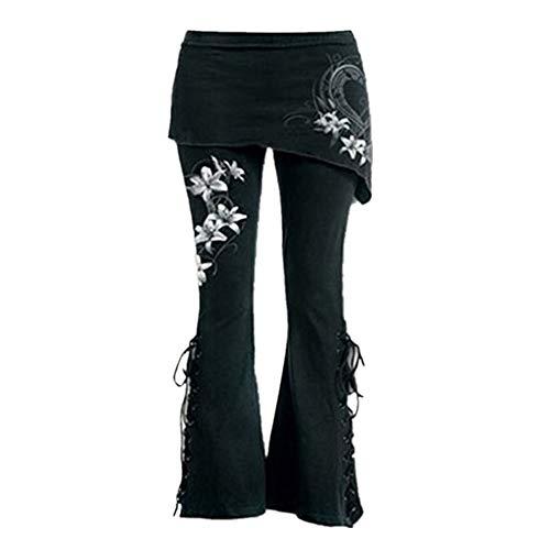 beautyjourney Bordado casual de las mujeres pantalones acampanados Leggings negros con cordones...