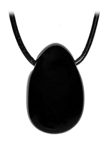 Kaltner Präsente Geschenkidee - Lederkette für Damen und Herren mit Trommelstein Anhänger aus dem Edelstein Schwarzer Obsidian (Herren-obsidian)